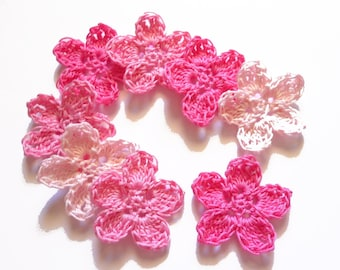 8 fuchsia, pink, light pink crochet applique.