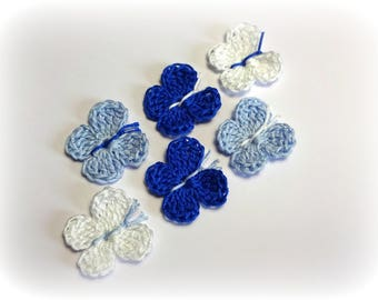 6 butterflies in blue and white cotton hook