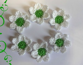 set of 6 applique cotton green and white crochet flowers