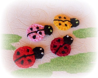 """4 ladybugs crocheted red, yellow and pink 3 cm (1.18 """")"""