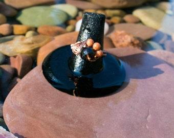 Smoky Quartz and Goldstone Ring