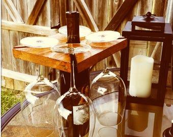 Rustic Handmade Wooden Wine Butler Caddy Carrier