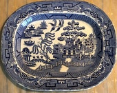 X-Large antique blue willow ironstone transferware serving meat patter