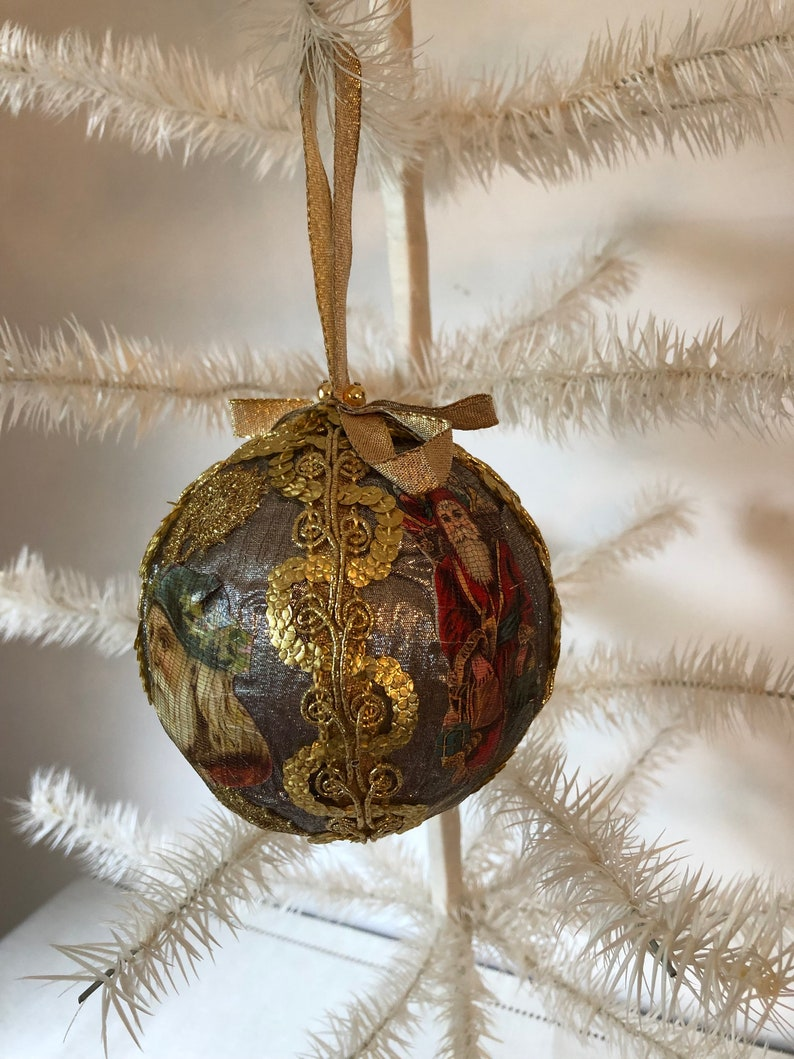 Vintage decoupage christmas ornament/Victorian Santa