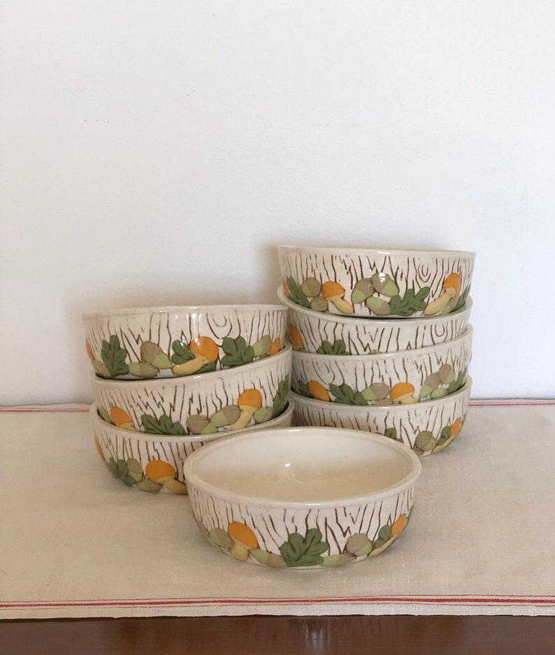 8 vintage pottery cereal bowls with faux bois and mushroom motif
