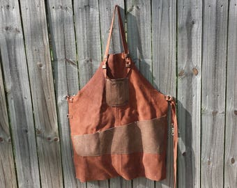 Leather Crafters Apron, Medium Weight Body, Durable Adjustable Straps, Smartphone/Notebook Pen/Pencil Pocket, Waist Pockets