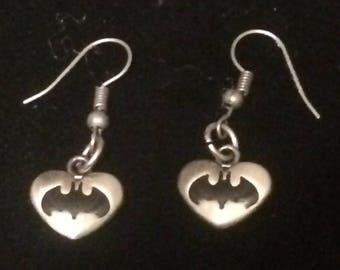 Batman Heart Earrings