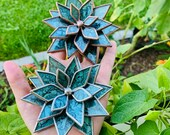 Bluegreen Van Gogh Glass Succulent Lotus