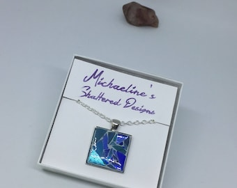 Blue Mosaic Stained Glass Necklace