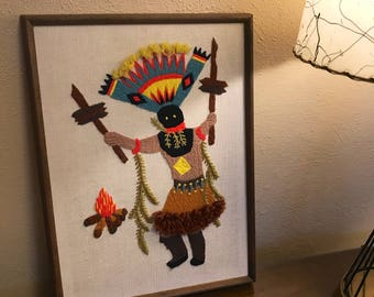 Beautiful Vintage Mid Century Embroidery Native American Crown Dancer Bohemian Boho Framed Wall Art
