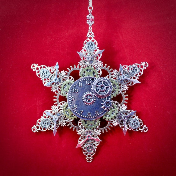 Steampunk Snowflake Gears and Filigree Christmas Ornament