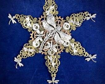 Steampunk Dragonfly Snowflake Ornament || Dragonflies Everywhere || For your Christmas Tree