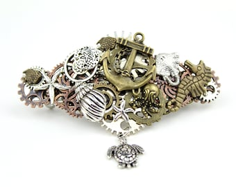 Nautical Steampunk Barrette featuring an Anchor, a Starfish, a Manta Ray, and Dangling Sea Turtle