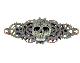 Sugar Skull Steampunk Brooch Antique Silver Small Skull Gears Pin Perfect gift for your favorite Gothic Steampunk-lover