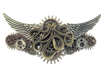 Regal Cthulhu with Large Wings Steampunk Gears Barrette Hair Clip