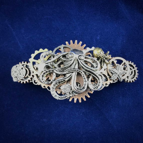 Octopus King and Steampunk Gears Barrette