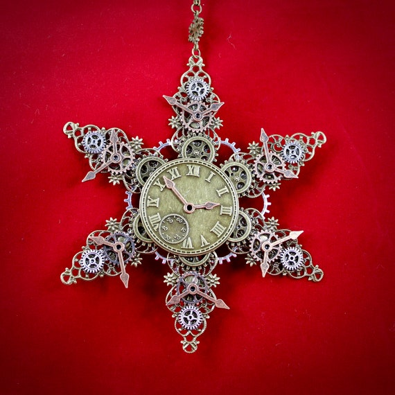 Steampunk Clock and Gears Filigree Christmas Ornament