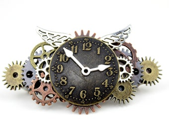 Steampunk Time Flies Barrette    Hair Clip with Clock face and Wings Pin    Perfect Gift for Her