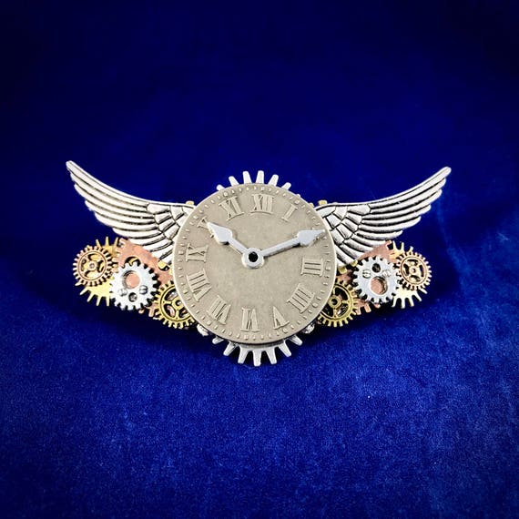 Steampunk Time Flies Clockwork and Wings Barrette