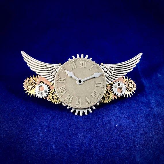 Steampunk Time Flies Clockwork and Wings Barrette