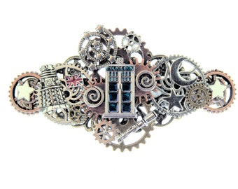 Galactic Doctor Who Dalek Union Jack Sonic Screwdriver Steampunk Hair Clip with French Barrette