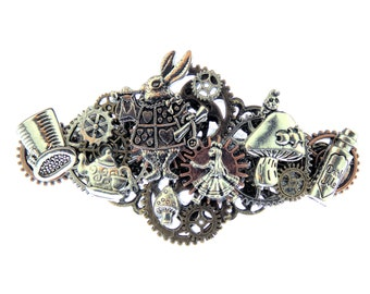Alice in Wonderland Steampunk Barrette   Hair Clip with Alice, White Rabbit, a Mad Hatter Hat, a Mushroom, and the Queen of Hearts Crown