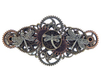 Steampunk Three Dragonflies Barrette with Clockwork Gears Genuine French Barrette