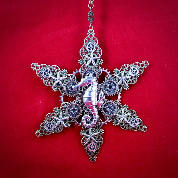 Seashell Steampunk Christmas Ornament with a Starfish surrounded by six Seashells