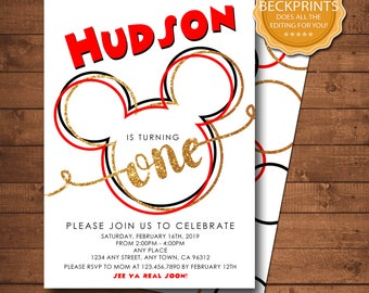 Mickey Mouse Invitation Birthday Party First 1st