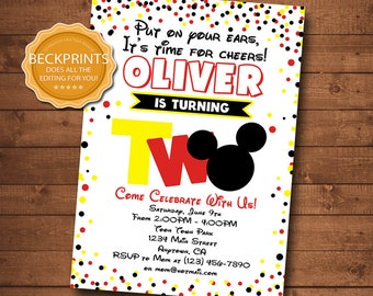 Mickey Mouse Invitations Birthday Invitation Second 2nd Invite