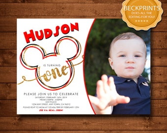 Mickey Mouse Invitation Birthday Invitations First Party Digital Download