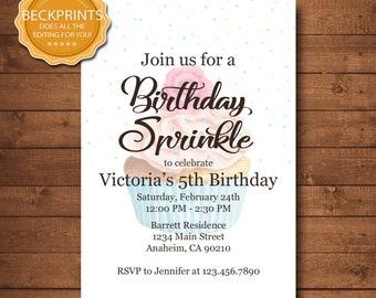 sprinkle birthday invitation etsy