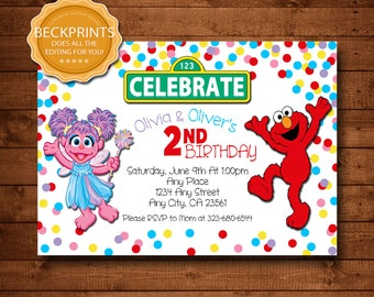 Elmo Invitation Elmo Birthday Invitation Abby Invitation | Etsy