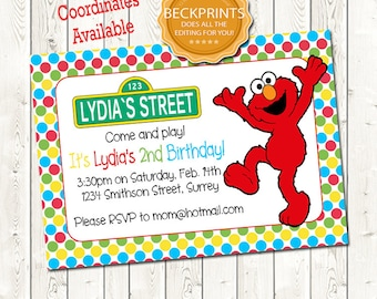 Elmo Birthday Invitation Digital Download JPEG File You Print