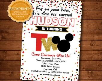 Mickey Mouse Invitations Birthday Invitation Second 2nd Invite