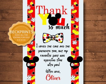 Mickey Mouse Thank You Card Mickey Thank You Thank You Card Etsy