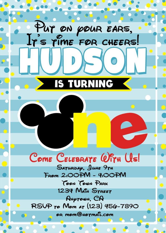 Mickey Mouse Birthday Invitation 1st