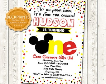 Mickey Mouse Invitations, Mickey Mouse Birthday Invitation, Printable Invitations, First Birthday Invites, Digital Download File, You Print