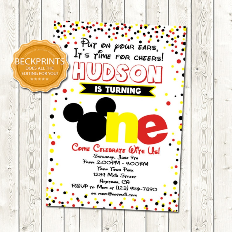 Mickey Mouse Invitation Birthday