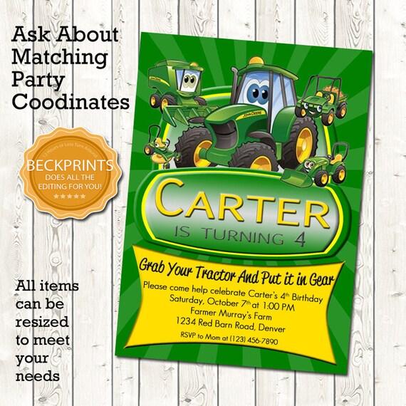 John Deere Birthday Invitation Tractor
