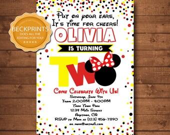 Minnie Mouse Invitations, Mickey Mouse Birthday Invitation, Printable Invitations, Second Birthday Invites, Digital Invitation
