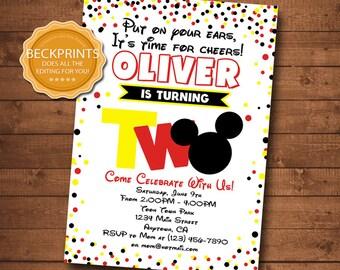 Mickey Mouse Invitations, Mickey Mouse Birthday Invitation, Printable Invitations, Second Birthday Invites, Digital Invitation