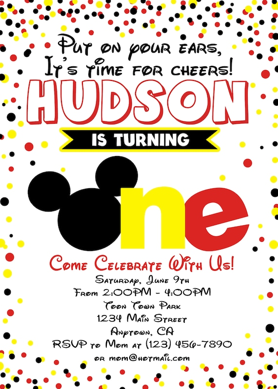 photo about Mickey Mouse Printable Birthday Invitations titled Mickey Mouse Invitation, Mickey Mouse Birthday, Mickey Mouse Birthday Invitation, Printable Invites, Very first Birthday Invitation