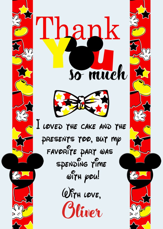 Mickey Thank You Cards Printable Thank You Card Mickey Mouse Birthday Thank You Mickey Mouse Thank You Card