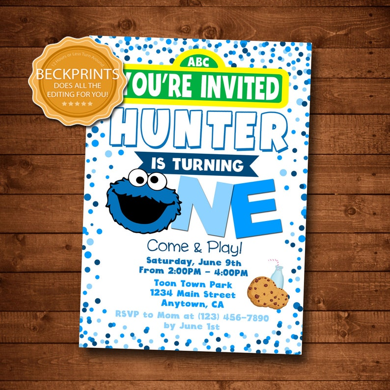 Cookie Monster Birthday Invitation Party 1st