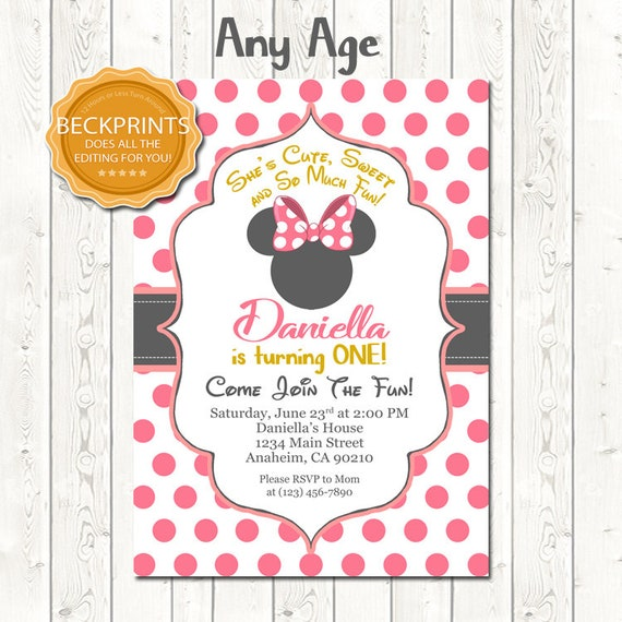 picture regarding Printable Minnie Mouse Invitations called Minnie Mouse Invites, Minnie Mouse Birthday Invitation, Printable Birthday Invitation, Electronic Birthday Invitation