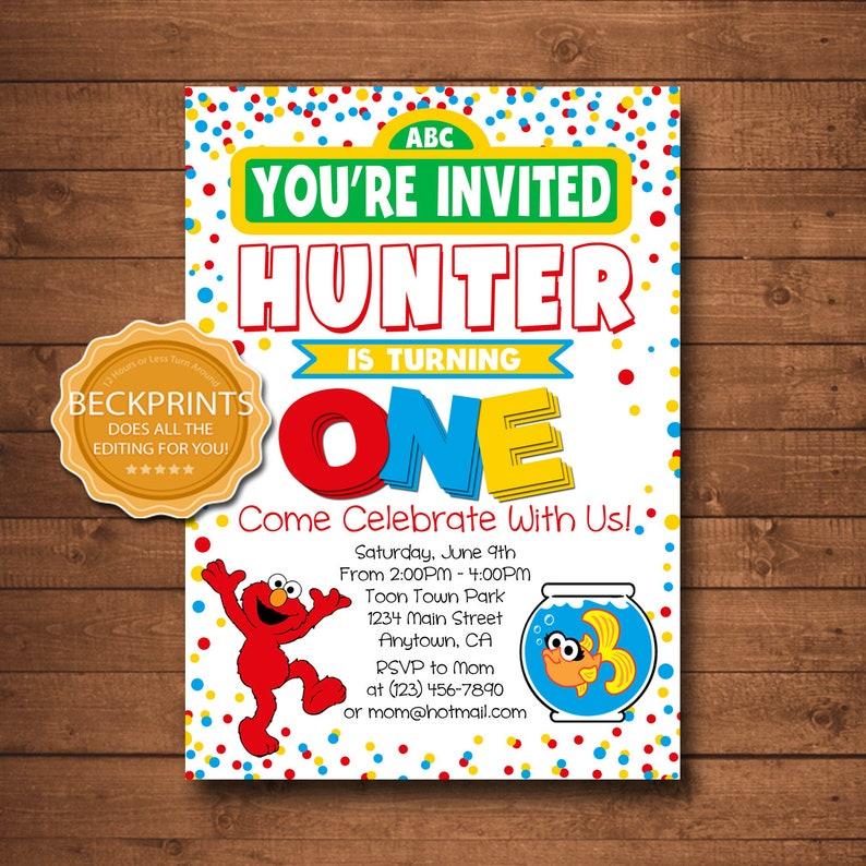 Elmo 1st Birthday Invitation