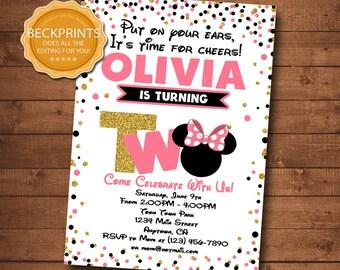 Minnie Mouse Invitations, Minnie Mouse Birthday Invitation, Mickey Mouse Invitation, Printable Birthday Invites, Digital Invitation