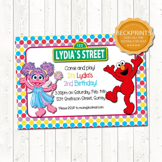 Elmo Invitation Birthday Abby
