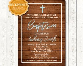 Baptism Invitation Boy, Baptism Invitation, Digital Baptism Invitation, Printable Baptism Invite, Digital Download JPEG/PDF File, You Print